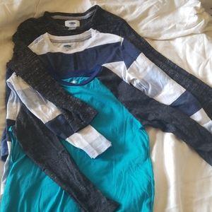 Old Navy Three Blue Long Sleeve Shirts.